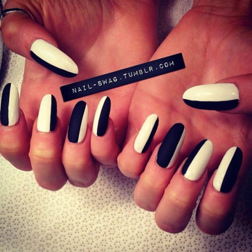 nail-swag:  DOESN'T MATTER IF YOU'RE BLACK OR WHITE NAILS for @sideara! #nailswag #nails #nailart #nailartclub #swag #LA