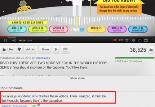 Witty Youtube comment is witty.