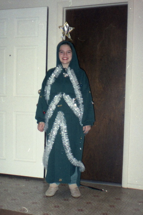 Me dressed as a Christmas tree for Halloween, 1995.