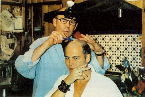 "missmirim:  thedread:  Hunter S. Thompson shaves Johnny Depp's head - ""Hunter shaved my head, in fact. I didn't look in the mirror at all, I was in mortal fear. Hunter had a mining light on his head we were in his kitchen and yeah, he shaved my hair.""  Two of my favorite men"