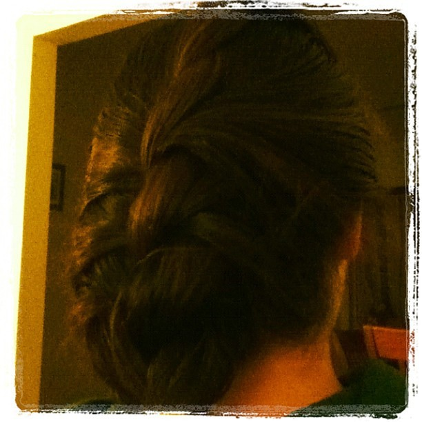 My sister learned how to French braid and then twisted it :) <33