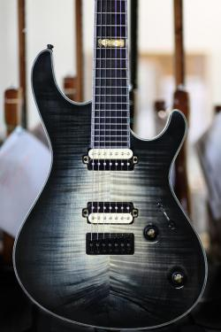 wachuleruxx:  Mayones Regius 7 Trans Natural Fade Black Burst finish  Seymour Duncan SH-4-7 and SH-2-7 with Zebra bobbins!!!