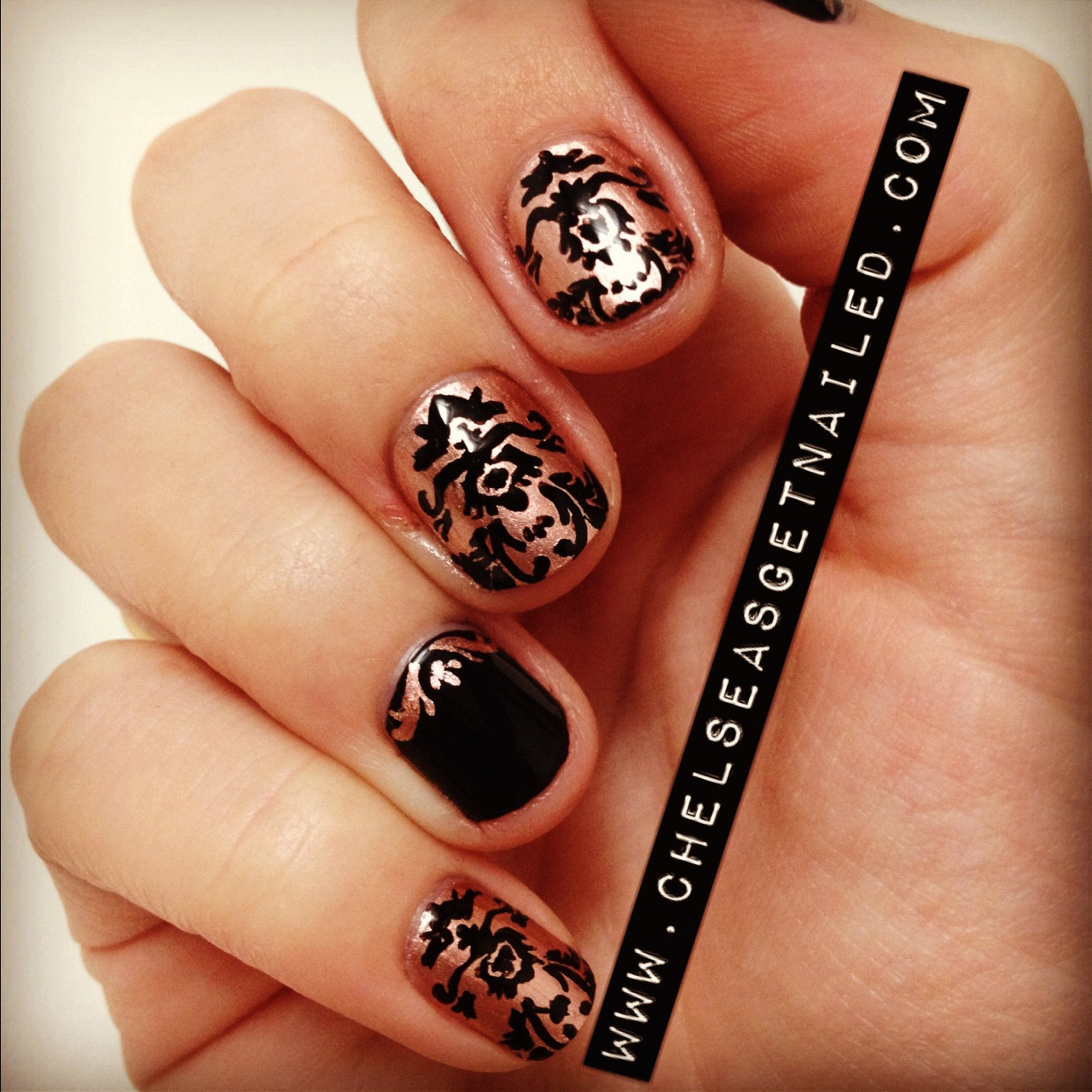 Brocade print nails!  What I Used: -Essie Penny Talk -Essie Licorice -Seche Vite top coat