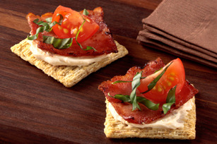 Triscuit + cream cheese + tomato + bacon = Good morning! Triscuit, why are you so good? (via Turkey Bacon-Basil Bites recipe)