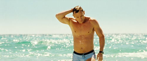 For Daniel Craig's now iconic scene where he rises out of the sea in a pair of blue swimming trunks, many of the crew were out of camera range in boats fending off the paparazzi. (x)
