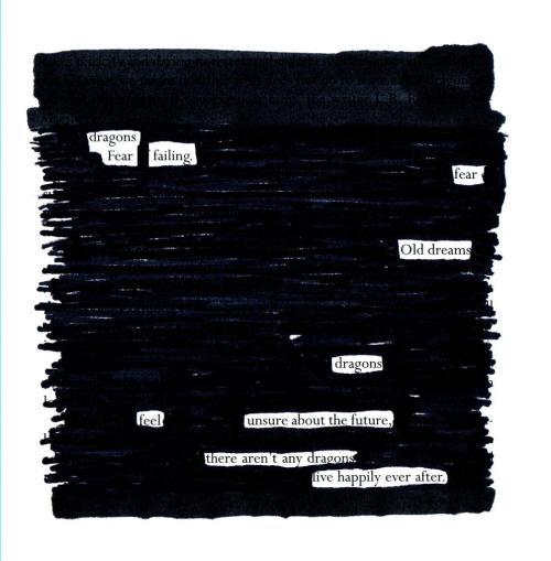 by Jim DuBois jimdubois:  Dragons Fears, Blackout Poem.