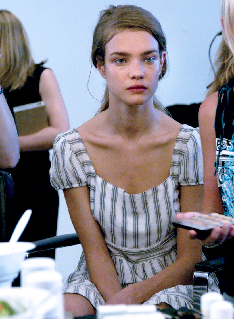Natalia Vodianova backstage at Calvin Klein Spring 2003.