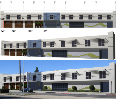 Here we have a few renders of the First Credit Finance building down Sherman Way in Van Nuys, CA. This was before the exterior of the building was completed. We had various concepts for the what the front would look like, but ultimately this design was chosen. I used Maya to model and render this building and Photoshop for creating textures and image compositing.