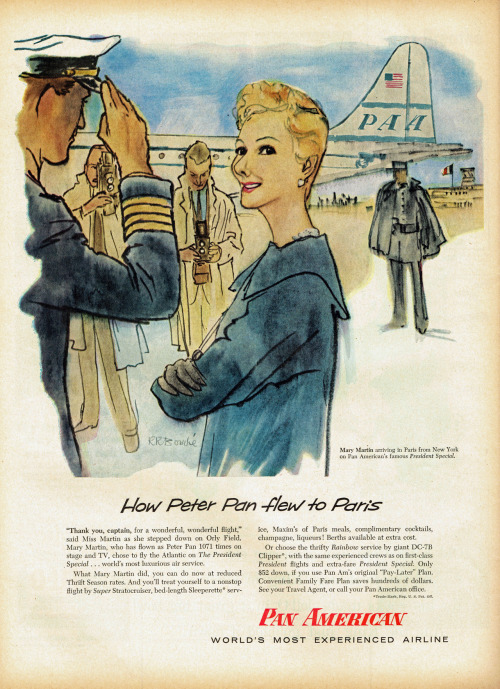 "operaqueen:  Mary Martin ""How Peter Pan flew to Paris"", Pan American Airlines, 1956  this looks like it was drawn by a serial killer.  a serial killer who loved Mary Martin."