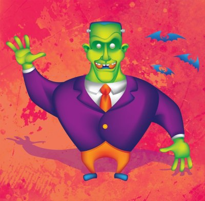 Halloween Frankenstein vector art.
