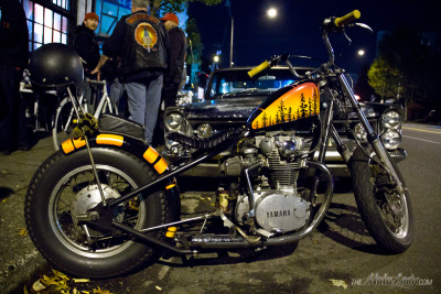 One of my favorite things from the Black Mass show- this Yamaha XS Chopper (owned by a nice fella named Josh) with a beautiful DIY paint job that he's ridden all over the West Coast.