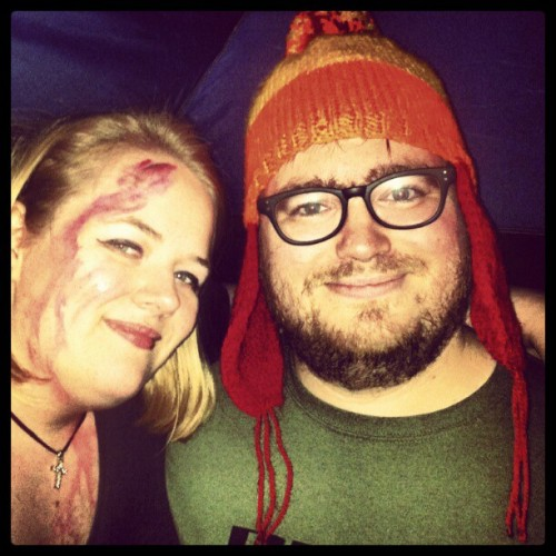 Me and Hubby from last night <3 @geordieracer82 in the Cunning Hat as Jayne, me all bloodied up as a not so successful vampire slayer. #Halloween #Buffy #Jayne #firefly #whedon