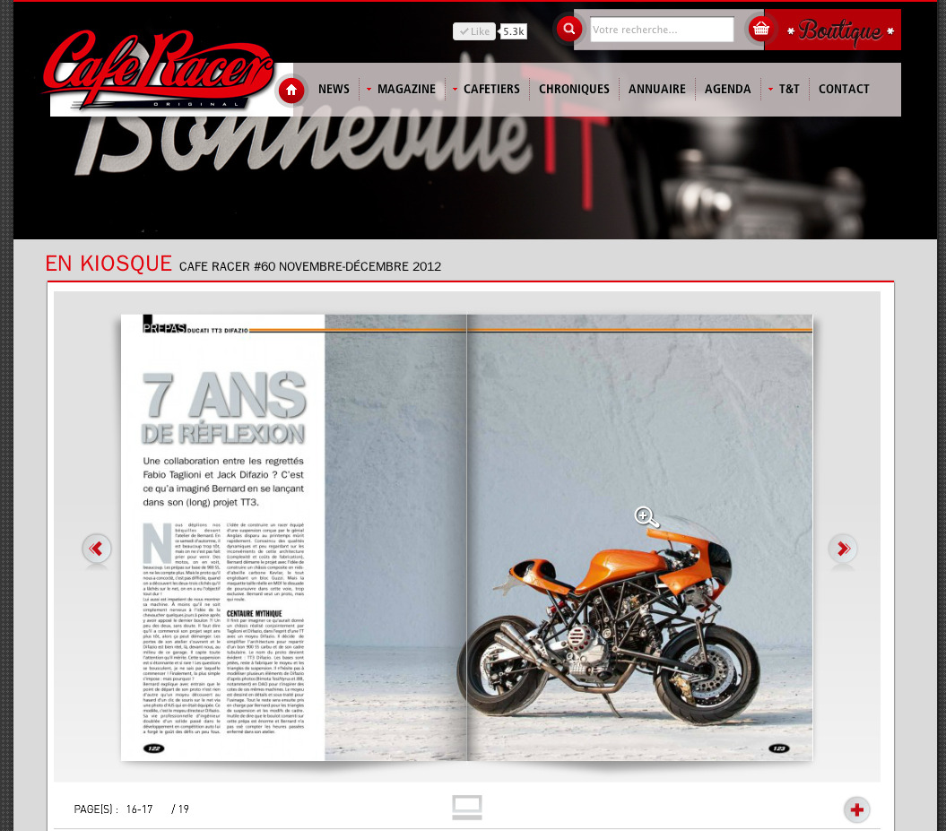 Available now, Cafe Racer Magazine N°60, featuring (part of) our shooting with 'UNLIMITED Engineering' Bernard's TT3 Difazio - an exceptional project bike - expect to see more of it in a very near future ! You can follow the evolution step by step here: http://unlimited-eng.skyrock.com/tags/bhXQ2DIXniY-TT3.html