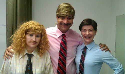 The supporting cast of Workaholics dressed up as the leads. (But where pray tell is Waymond Wamano?)