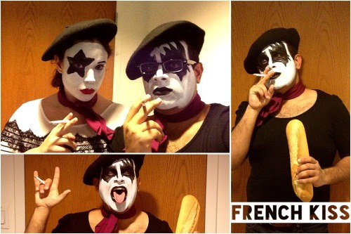 "Last night, L and I decided to dress up as ""French Kiss"" and go to the Shake A Tail Halloween party. Our costume idea was a hit!"