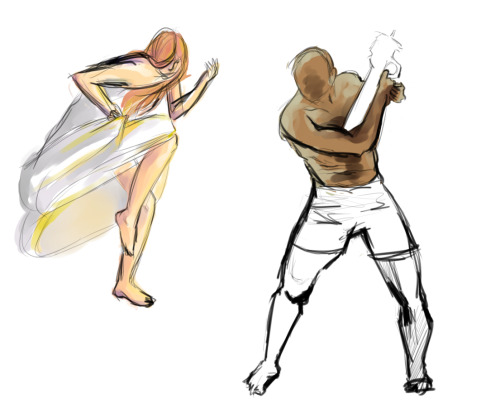 These are two sketches that I coloured after doing some timed gesture figure drawing that you can do here. I'm horrible at anatomy so I'm trying to get some anatomy practice done, but I still couldn't help but colour a bit because colouring is kind of addictive
