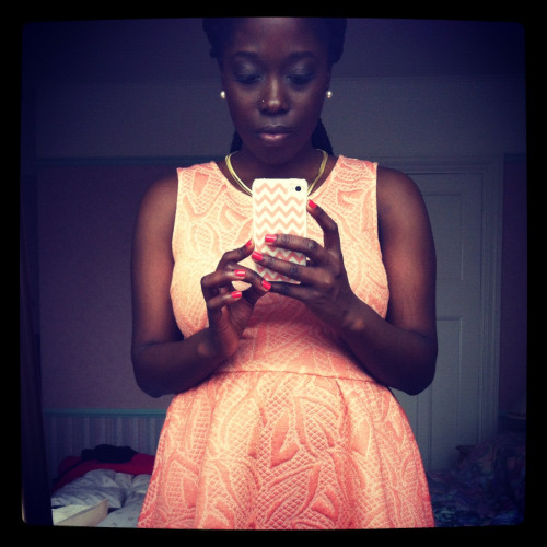 What I wore the wedding. Coral and gold skater dress. I love coral.