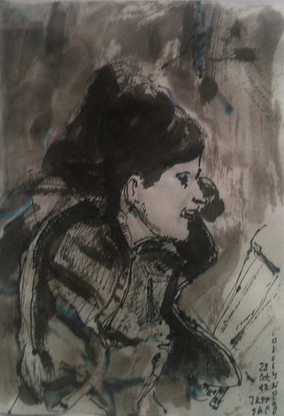 Carolyn Pappas (JKPP), ink wash and fountain pen on Japanese paper 18x26cm, Oct/2012 #berndblacha on Flickr.