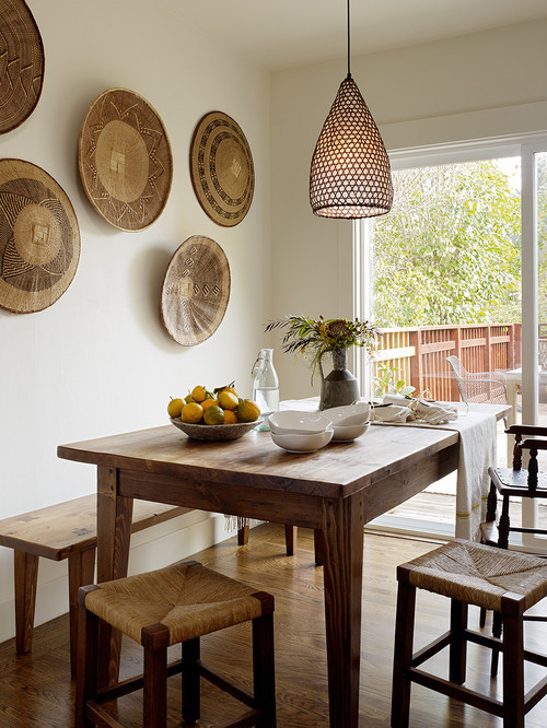 georgianadesign:  San Anselmo breakfast room, San Francisco. Jute Interior Design.  Love the baskets on the wall! We have a large Navajo basket hung in the R+G world headquarters.