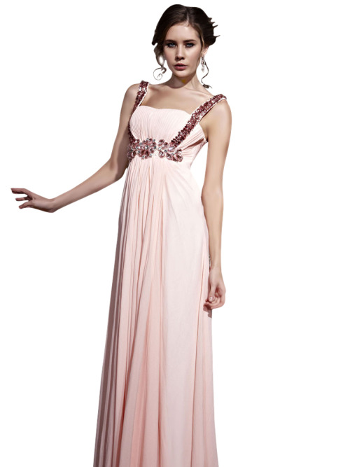 Demure in Pink Jewelled Bridesmaid Dress £410.00 Sweet and demure looking bridesmaid dress in soft pink colour featuring sleeveless A Line silhouette, floor length chiffon overlay skirt, ruched bodice, and bold pink jewel embellishments under bust and straps.