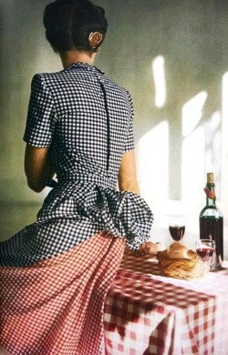 rusticmeetsvintage:  Vogue US May 1944. Dress by Adrian, Photo by John Rawlings