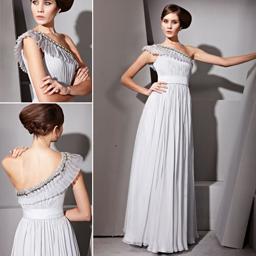 Asymmetric Pleated Grey Evening Dress £360 Beautiful grey evening dress perfect for black tie events featuring asymmetric A line silhouette, belted waistline, chiffon overlay, floor length skirt, ruched bodice with gorgeous embellished pleats on asymmetric neckline.