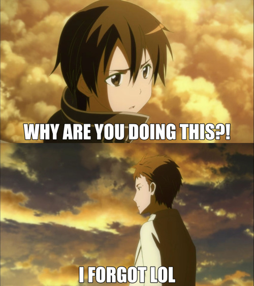 ramennochibi:  SAO episode 14 in a nutshell More captions here