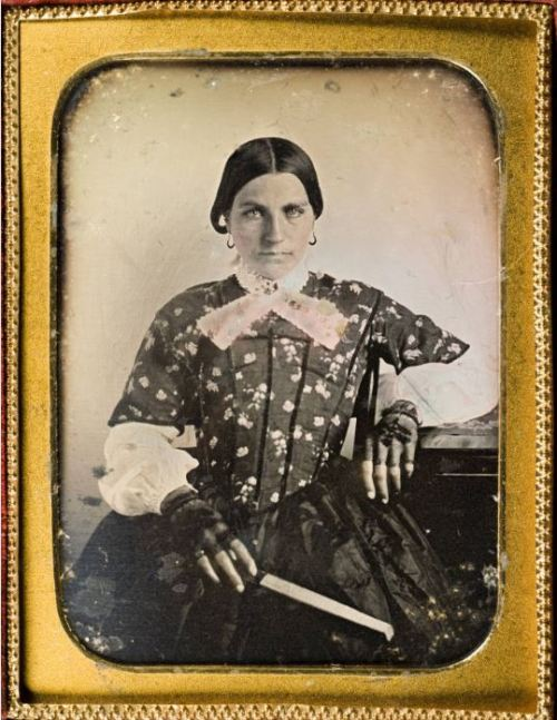 ca. 1849, [daguerreotype portrait of Miranda Adkins Sneed in a fine dress and lace gloves]   Miranda Adkins Sneed, wife of Sebron Graham Sneed and mother of eleven children, arrived in Austin in 1848. Sneed and her husband were prominent in local politics and were strong supporters of secession in 1861. Their home served as a recruiting station for Confederate soldiers during the Civil War and later was used as a hospital for wounded soldiers.  via  Southern Methodist Central University Libraries, DeGolyer Library, Lawrence T. Jones III Texas photography collection