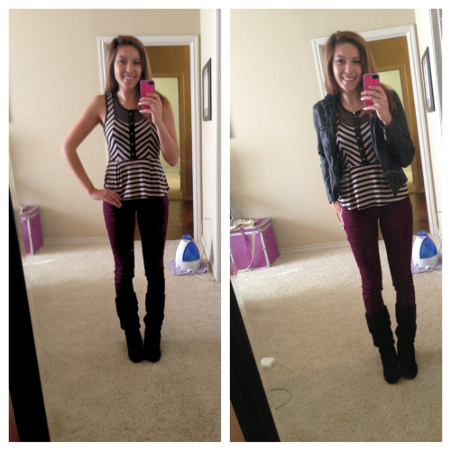 Weekend attire for a fall day:  Peplum shirt: Urban outfitters  Oxblood skinnies: TJ Maxx steal ($20)  Boots: black suede Giani Bini  I added a leather jacket for a  more casual, edgy vibe. Pair it with any light jacket for a complete look!