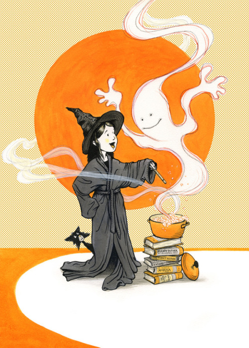 The books also serve on Halloween / Los libros también sirven en Halloween (ilustración de Keith Robinson)