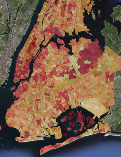 adamlaiacano:  Above is an interactive NYC Storm risk map, showing how susceptible each neighborhood is to storm damage. The map came from the DataKind/NYC-Parks DataDive in September, 2012.