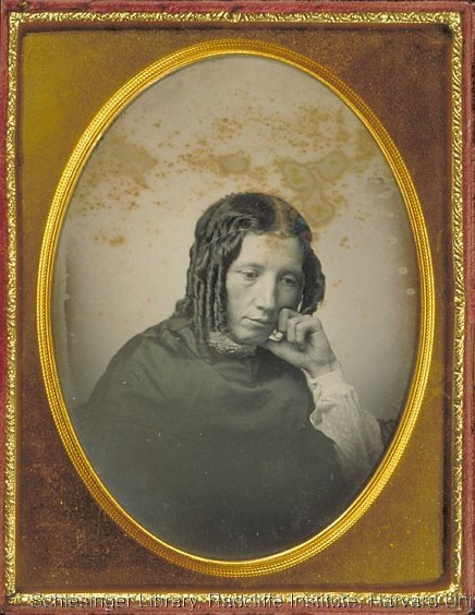 ca. 1852, [daguerreotype portrait of Harriet Beecher Stowe] via Harvard University, Schlesinger Library on the History of Women in America, Radcliffe Institute, Beecher-Stowe Family Papers