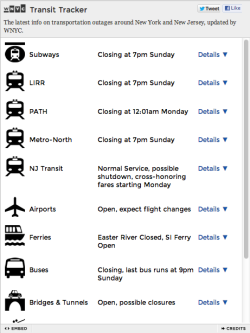 wnyc:  Status check: Wondering what's going on on public transit near you? DataNews & Transportation Nation's new Transit Tracker automatically checks and reports. Click for an updated version. And just in case you've managed to miss them, here are all of our free, embeddable Hurricane Sandy resources. Embed. Share. Be informed.  Sandy Tracker | Transit Tracker | NYC Evacuation Zones | Storm Surge Zones In NY/NJ  (via @DataNews)