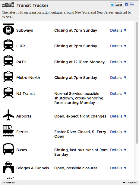 wnyc:  Status check: Wondering what's going on on public transit near you? DataNews & Transportation Nation's new Transit Tracker automatically checks and reports. Click through for an updated version. And just in case you've managed to miss them, here are all of our free, embeddable Hurricane Sandy resources. Embed. Share. Be informed.  Sandy Tracker | Transit Tracker | NYC Evacuation Zones | Storm Surge Zones In NY/NJ    WNYC has been doing a thorough job of covering the storm.