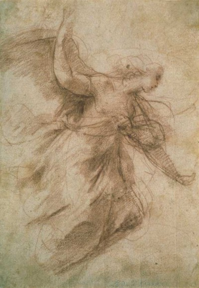 Study of an Annunciating Angel (ca. 1600) by Annibale Carracci