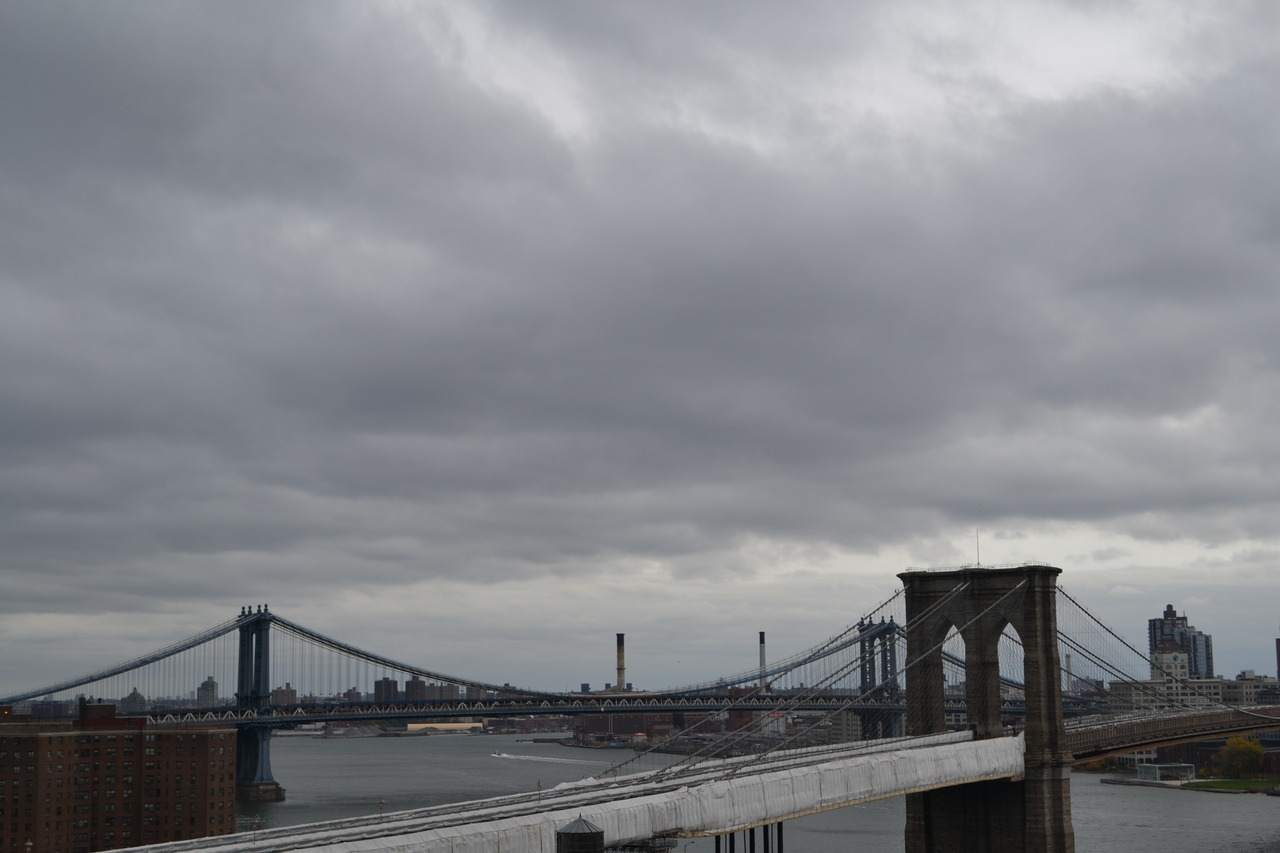 The ominous grey skies over NYC hang low as Hurricane Sandy approaches.
