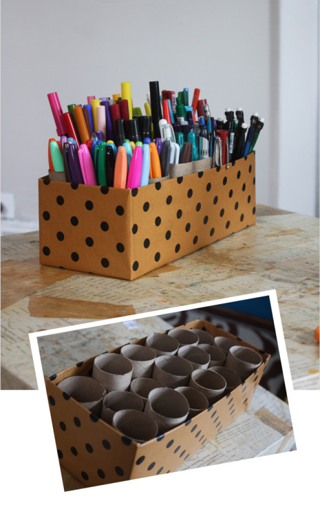 unconsumption:  DIY project du jour: Shoe box + toilet paper tubes (and/or paper towel tube pieces) = storage for pens and other office/art supplies (via Aunt Peaches) More paper tube repurposing ideas: here.