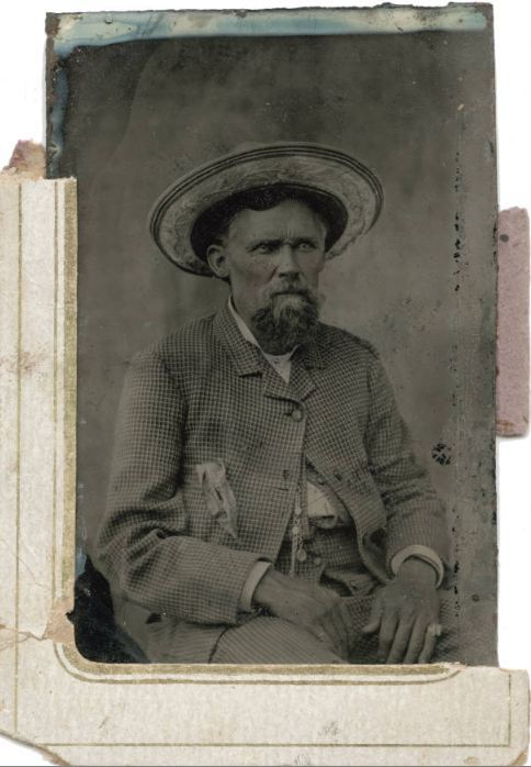 ca. 1870's, [tintype portrait of a gentleman with a furrowed brow and straw hat with a floral design] via Southern Methodist University, Central University Libraries, DeGolyer Library, Lawrence T. Jones III Texas photography collection