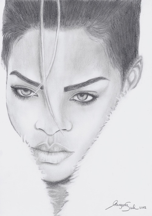 Rihanna drawing by Marigona Suli 'Shine bright like a diamond'