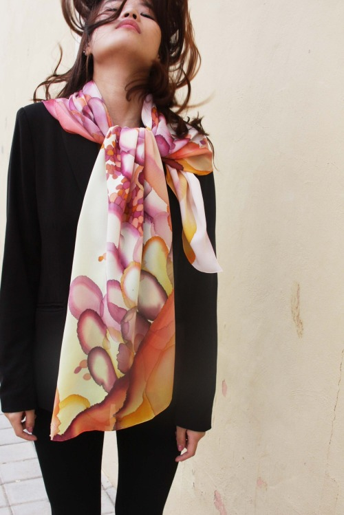 """Beads"" hand-painted silk scarf by Asta Masiulyte, www.astasilk.com"