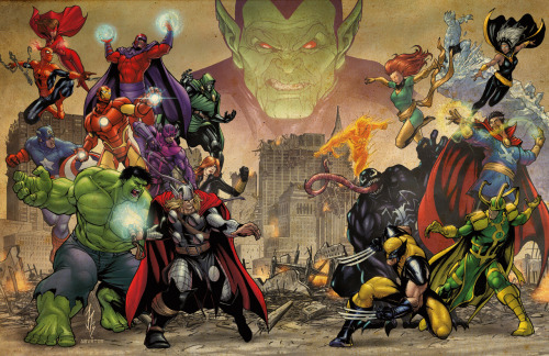 Avengers, X-Men, The Hulk, Doctor Strange, Venom, Loki Magneto, Doctor Doom and Skrulls