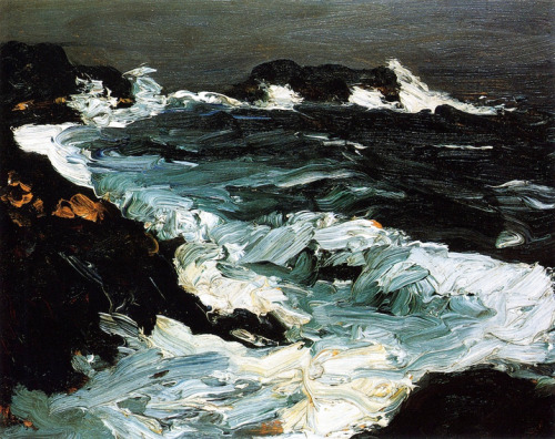 thanks to crashinglybeautiful:  Robert Henri, Rough Seas Near Lobster Point, 1903. (via: theburnthatkeepseverything & chasingtailfeathers)