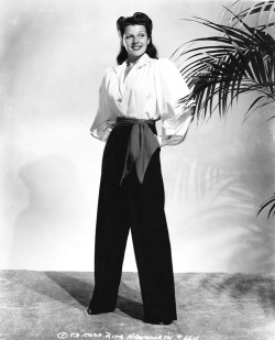 Rita Hayworth in her slacks, c. 1940.