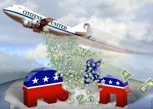 Citizens United 'carpet bombs' elections with money