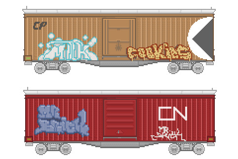 BOXCAR 01 First in a Boxcar pixel art series.