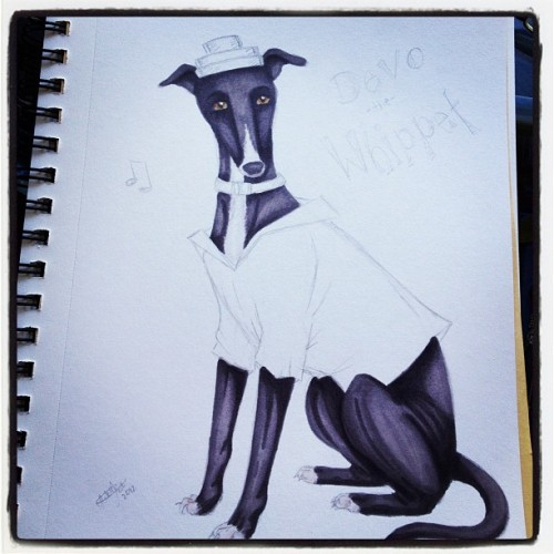 In the studio today. Drawing dogs in costumes. #art
