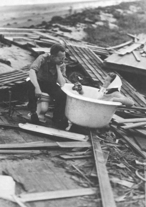 Katharine Hepburn Following the Long Island Express Hurricane of 1938  from Retronaut