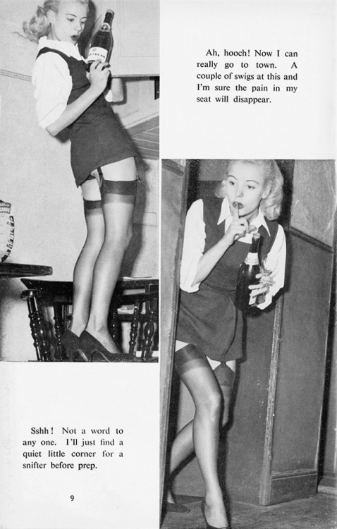 amanda-gayfried:  loutigergirl99:   The evils of drink - Barbara Moran  true story my first day at my college we got a tour from a woman who went there like fifty million years ago and she told us how when it was a dry campus her girlfriends and she would smuggle in ~hooch~