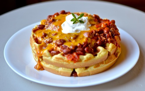 gastrogirl:  chili and cornbread waffles.