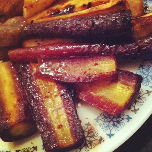 Purple carrots with my roast dinner